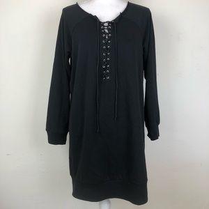 Charlotte Russe Lace Up sweatshirt tunic black L